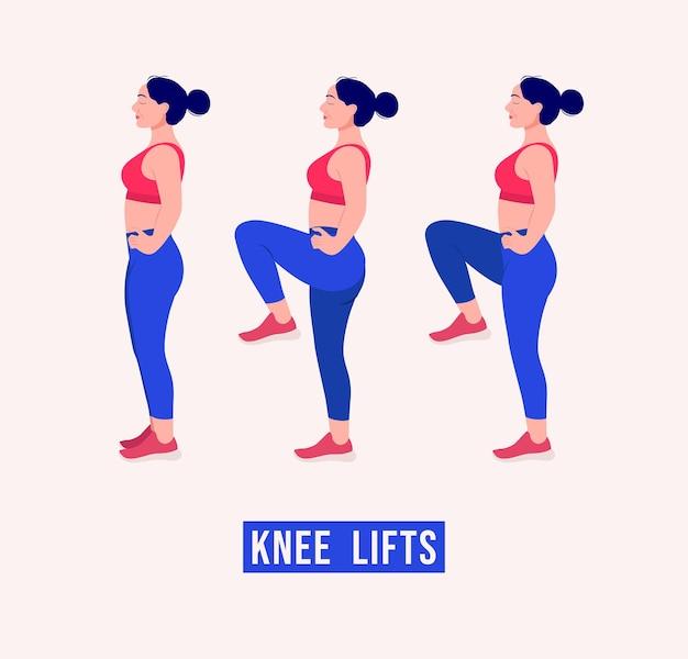 Genou lifts exercice femme entraînement fitness aérobie et exercices