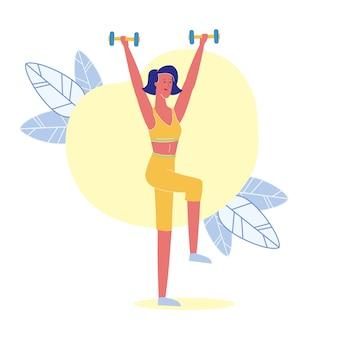 Genoux lift avec haltères illustration vectorielle plane