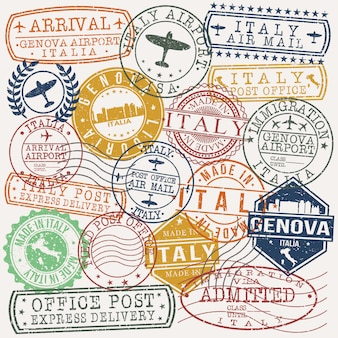 Genova italie ensemble de dessins de timbres de voyage et d'affaires