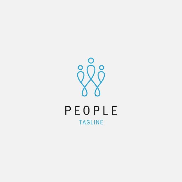 Les gens abstraits premium logo icône design moderne minimal avec illustration familiale