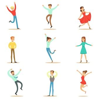 Les gens accablés de bonheur et de joie extatique ensemble de personnages de dessins animés souriants heureux