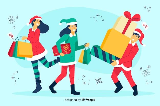 Gens, achat, noël, illustration, cadeaux
