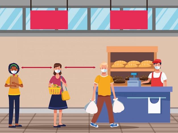 Gens, achats, dans, supermarché, à, masque facial, vecteur, illustration, conception