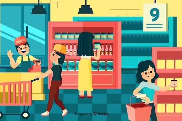 Gens achetant au supermarché, illustration avec des personnages