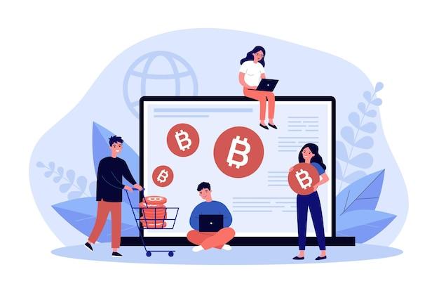 Les gens achètent des bitcoins sur ordinateur. homme et femme négociant en ligne en bourse sur ordinateur portable. investissement en crypto-monnaie. pièce de monnaie crypto, concept de monnaie numérique. illustration vectorielle plane.