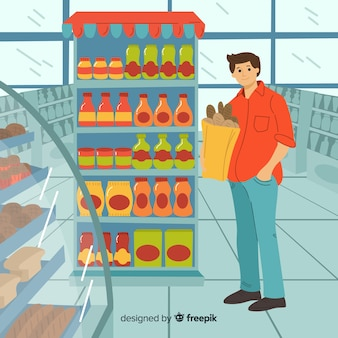 Les gens achètent dans le supermarché