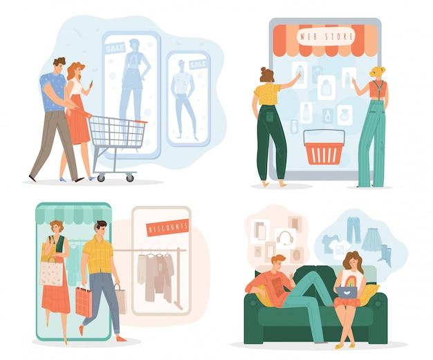 Les gens achètent en ligne via un ensemble d'applications mobiles