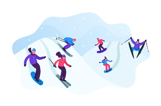 Les gens adultes vêtus de vêtements d'hiver de ski et de snowboard. illustration plate de dessin animé