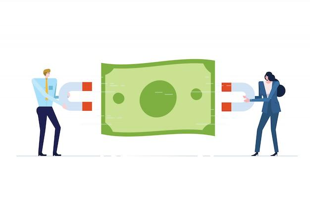 Les gens d'affaires avec aimant attire l'argent.