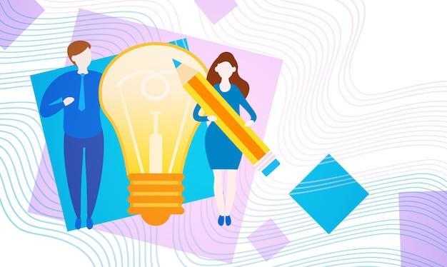 Gens d'affaires avec ampoule