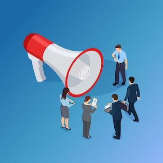Gens d'affaires en attente d'annonce et mégaphone