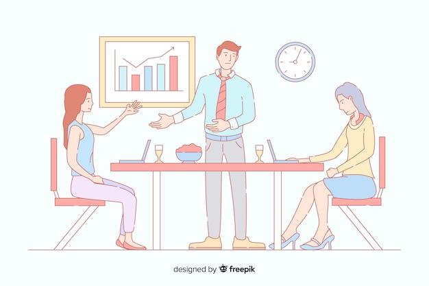 Gens d'affaires au bureau dans un style de dessin coréen