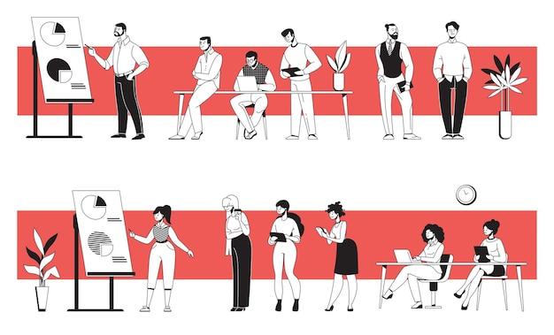Gens d'affaires au bureau. jeunes hommes et femmes divers discutant de la présentation, se réunissant