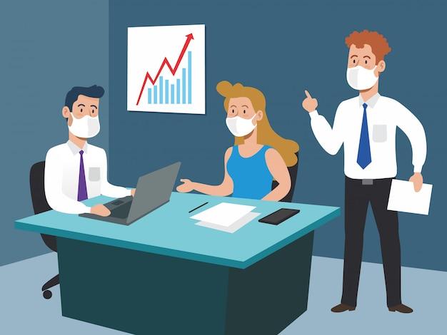 Les gens d'affaires au bureau avec le rapport de stratégie documentaire