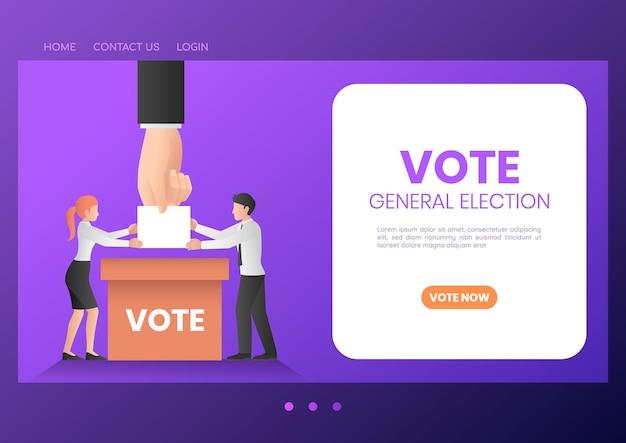 Les gens d'affaires de la bannière web mettent le bulletin de vote dans l'urne. élections et vote concept de page de destination.
