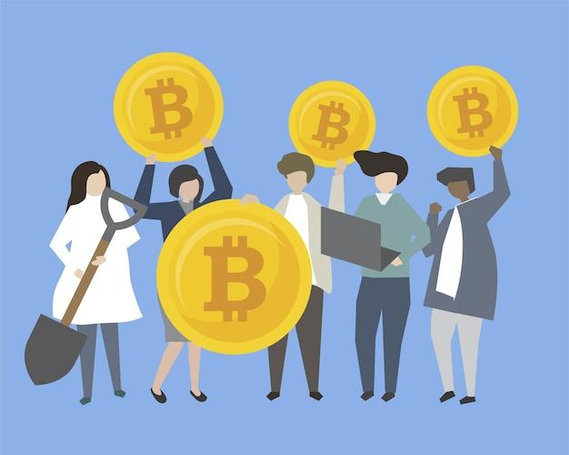 Gens d'affaires et banquiers avec illustration de l'argent