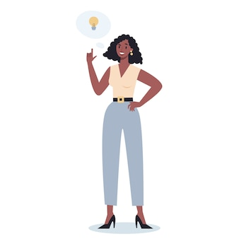 Des gens d'affaires bien pensés. femme pensant à la recherche de solutions au problème. personne maussade.