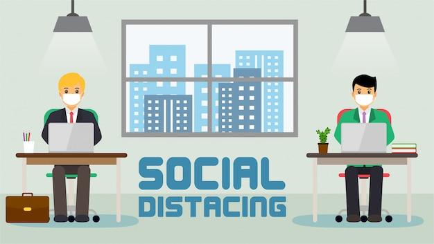 Les gens d'affaires de bureau d'affaires maintiennent une distance sociale. nouvelle normale au travail.