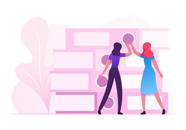 Les Gens D'affaires, La Bureaucratie Comptable, La Paperasserie Concept. Illustration Plate De Dessin Animé Vecteur Premium