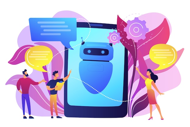 Les gens d'affaires communiquent avec l'application chatbot. intelligence artificielle chatbot, service talkbots, concept de support d'agent interactif. illustration isolée violette vibrante lumineuse