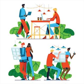 Gens d'affaires de concept de coworking