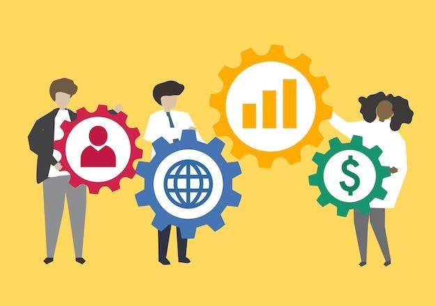 Gens d'affaires en connexion avec illustration engrenages
