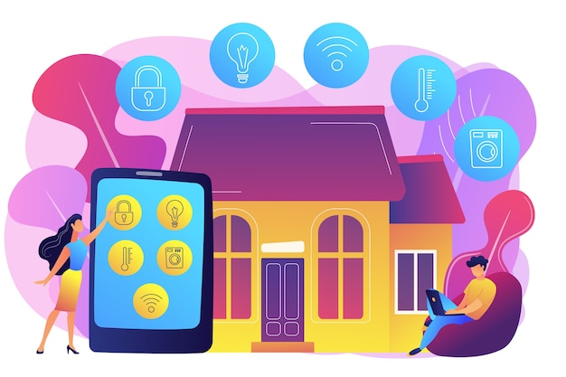 Les gens d'affaires contrôlant les appareils de la maison intelligente avec tablette et ordinateur portable. appareils domestiques intelligents, système domotique, concept de marché domotique. illustration isolée violette vibrante lumineuse