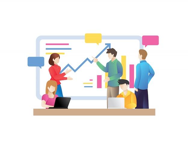 Gens d'affaires, conversation, conférence, salle de réunion