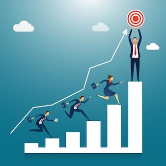 Les gens d'affaires courent pour le but ou le succès.