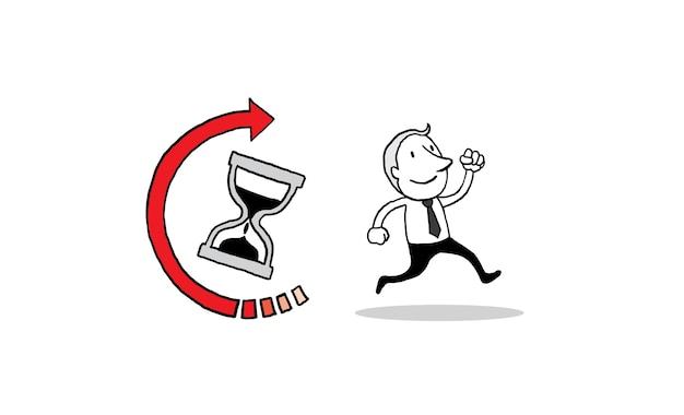 Gens d'affaires en cours d'exécution avec l'icône de temps de sablier