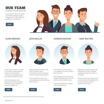 Gens d'affaires créatives, externalisation des affaires, concept de vecteur de travail d'équipe avec des personnages de dessins animés plats