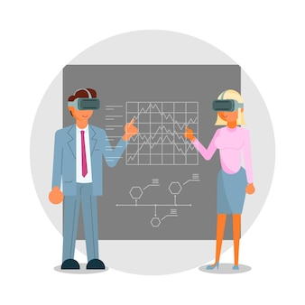 Gens d'affaires dans des casques touchant l'illustration de l'interface vr éducation à la simulation de réalité virtuelle