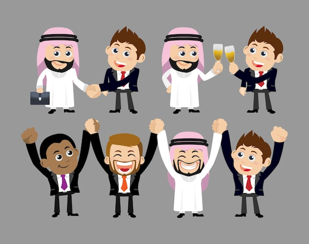 Gens d'affaires dans la célébration de la victoire et le concept de partenariat