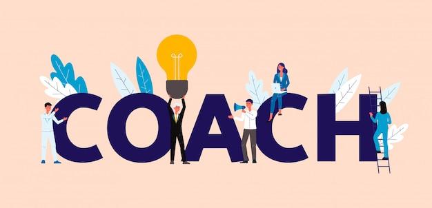 Gens d'affaires dans le concept de coaching et de formation