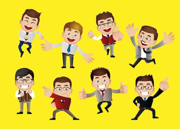 Gens d'affaires dans les positions de célébration et de réussite de la victoire
