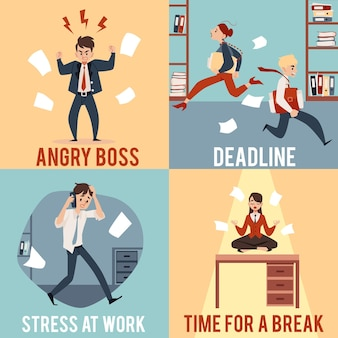Gens d'affaires dans des situations de bureau de chaos illustrations carrées définies style cartoon