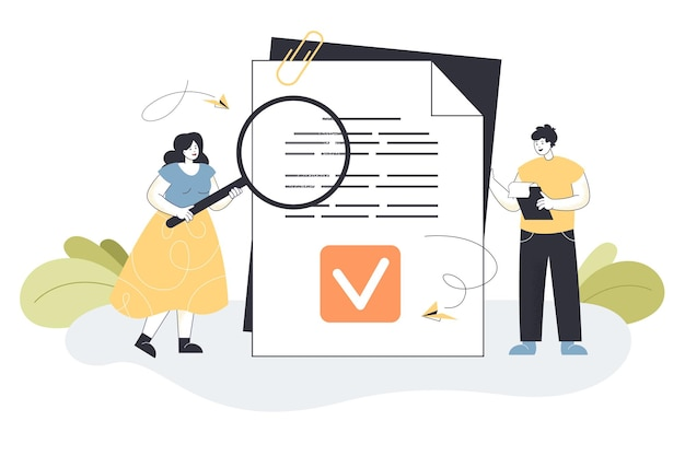 Gens d'affaires de dessin animé minuscule lisant un document juridique