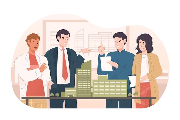 Gens d'affaires discutant du projet immobilier