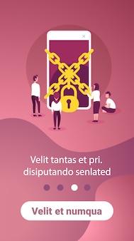 Gens d'affaires essayant d'avoir accès chaîne cadenas smartphone protection des données concept application mobile
