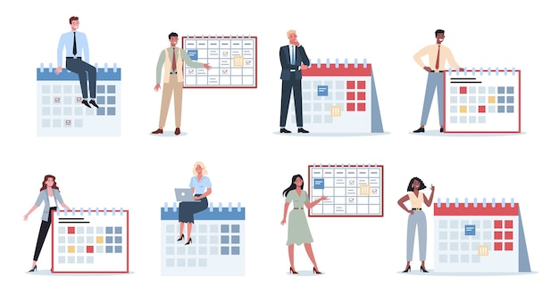 Les gens d'affaires font un ensemble de concept de planification. idée de business plan et de stratégie. fixer un objectif ou une cible et suivre le calendrier.