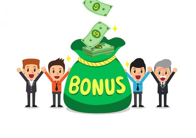 Gens d'affaires heureux de dessin animé avec gros sac d'argent bonus