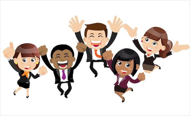 Gens d'affaires heureux sautant célébrant la réussite