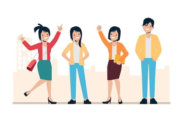 Gens d'affaires heureux travail d'équipe gai personnage d'animation illustration 2d