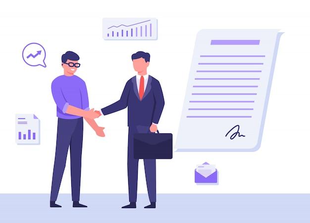 Les gens d'affaires homme portent des lunettes costume porter valise secouer la signature graphique de fond de main sur la lettre d'accord avec le style de dessin animé plat.