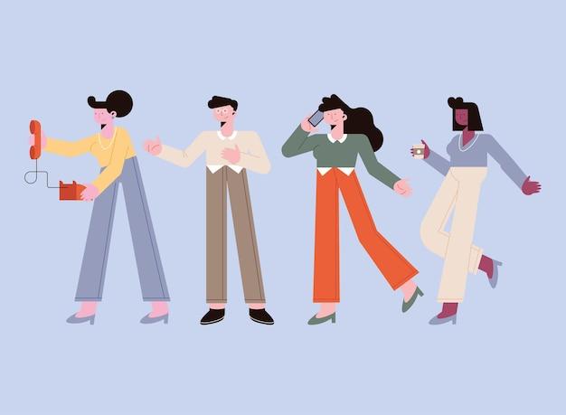 Les gens d'affaires avec l'icône de bureau sur fond orange