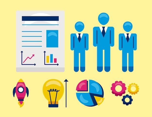 Gens d'affaires et icônes smb sur fond jaune