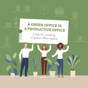 Gens d'affaires avec illustration plate de bannière de bureau vert. espace de travail confortable, augmentation de la productivité, zone verte créant des astuces. personnages de dessins animés de gestionnaires de bureau souriant