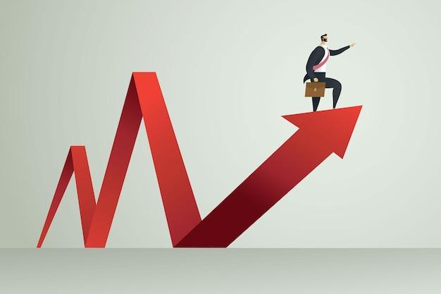Les gens d'affaires indiquent le chemin vers l'objectif debout sur la flèche vers le haut