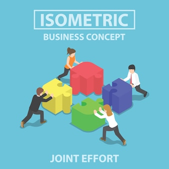 Gens d'affaires isométrique poussant