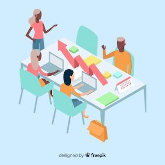 Gens d'affaires isométriques en réunion